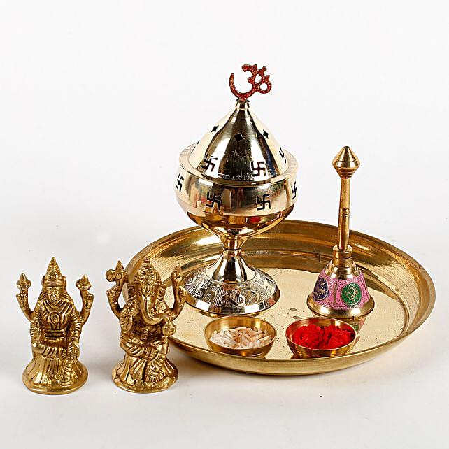 Brass Diwali Pooja Thali Combo: Send Pooja Thali