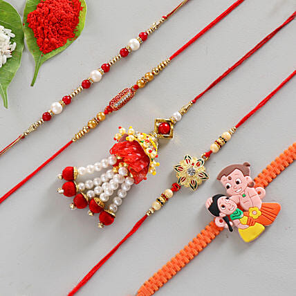 Bright & Beautiful Combo of 5 Rakhis: Set of 5 Rakhi