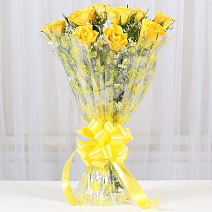 10 Bright Yellow Roses Bouquet: Send Roses