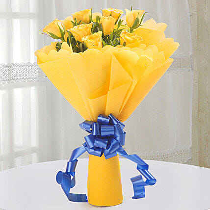 Bright Yellow Roses Bouquet: Best Seller Flowers