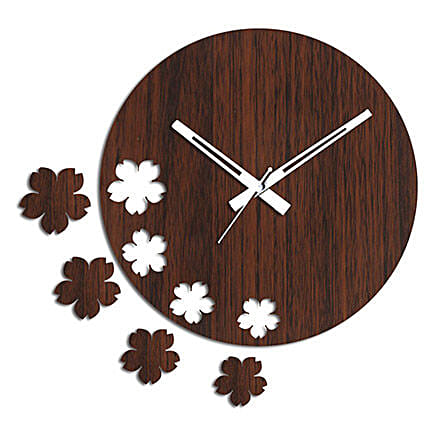 Brown Flowers Wall Clock: Wall-Clock Gifts