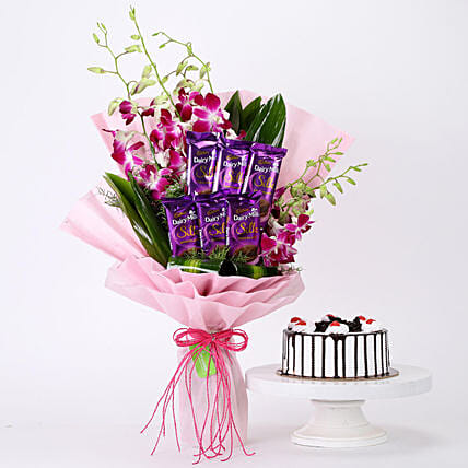 Bunch Of Orchids & Black Forest Cake Combo: