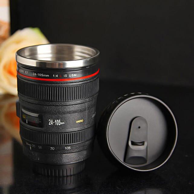 Camera Lens Sipper Mug: Funny Gifts