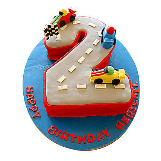 Car Race Birthday Cake: