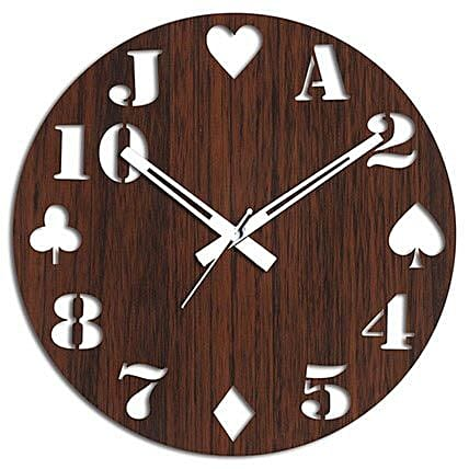 Cards Special Brown Wall Clock: Wall-Clocks