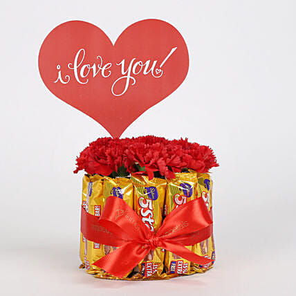 Carnations in Glass Vase & 5 Star Chocolate Bouquet: Send Chocolate Bouquet