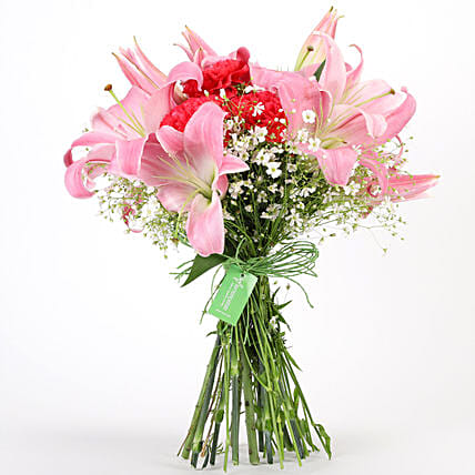 Carnations & Lilies Hand Tied Bunch: