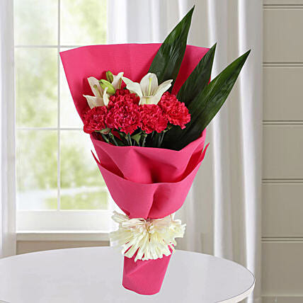 Carnations N White Asiatic Lilies Bunch: Mixed flowers