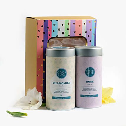 Chamomile & Rose Green Tea Paradise Combo: Gift Hampers