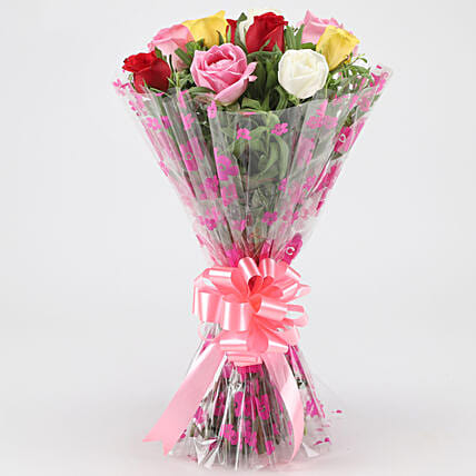 Cheerful Mixed Roses Bouquet: