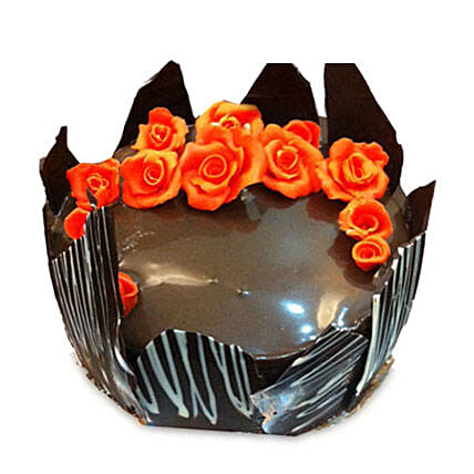 Chocolate Cake With Red Flowers: Send Birthday Cakes to Ludhiana