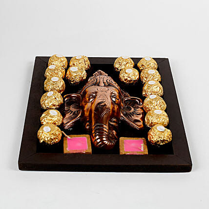 Chocolates & Metal Ganesha in Wooden Tray: Send Diwali Gifts for Her