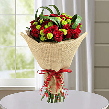 Classic Red Roses Hand Tied Bouquet: Gifts for New Born