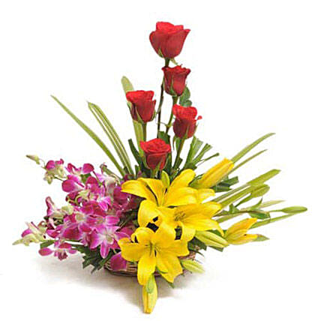Colourful Blooms Basket Arrangement: Lilies for anniversary