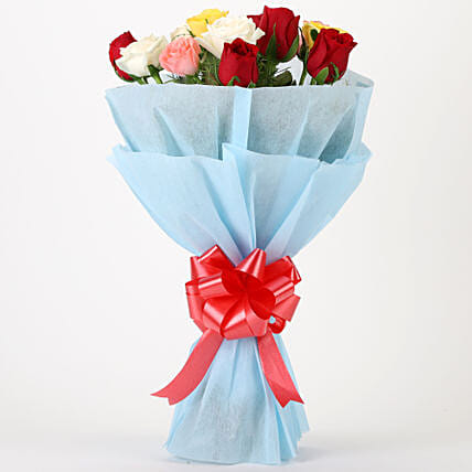 Colourful Mixed Roses Bouquet: Mixed Colour Flowers