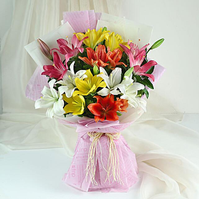 Pure Love- 8 Colourful Asiatic Lilies Bouquet: Send Lilies