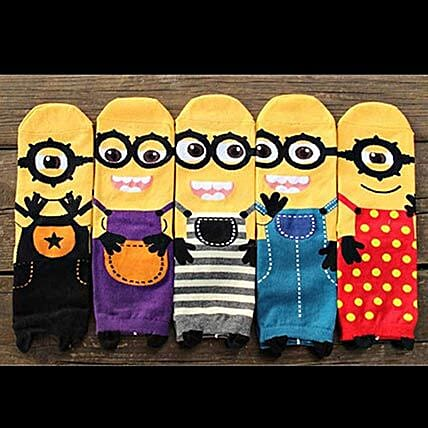 Cute Minions Full Length Socks 5 Pairs: Gifts for Childrens Day