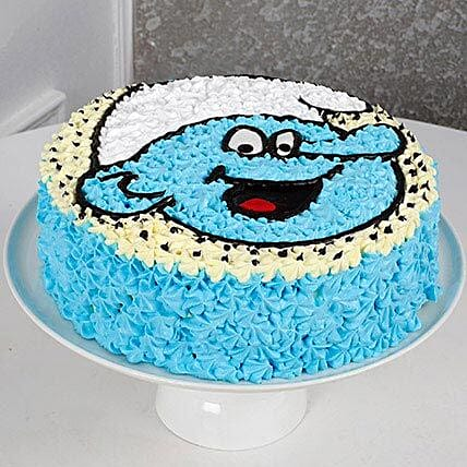 Cute Smurf Cream Cake 1st Birthday Cakes