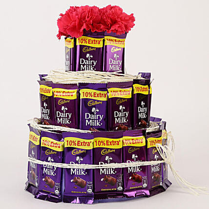 Dairy Milk & Carnations- 3 Tier Arrangement: