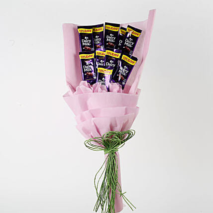Dairy Milk Chocolates Pink Paper Bouquet: Send Chocolate Bouquet