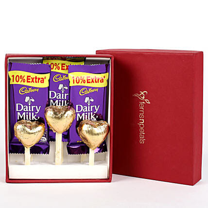 Dairy Milk & Handmade Chocolate in FNP Red Box: Cadbury Chocolates