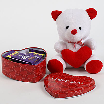 Dairy Milk in Heart Box & Teddy Bear: Valentines Day Chocolates