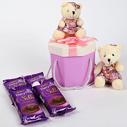 Dairy Milk Silk & Teddy Bear Gift Box: Chocolate Gifts in India