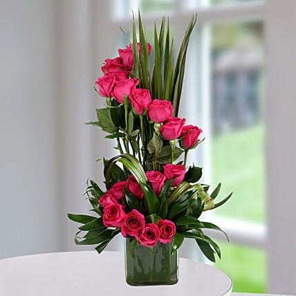 Dark Pink Roses Arrangement Flower Arrangements