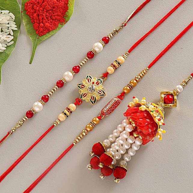 Dazzling Set of 4 Designer Rakhis: All Rakhi