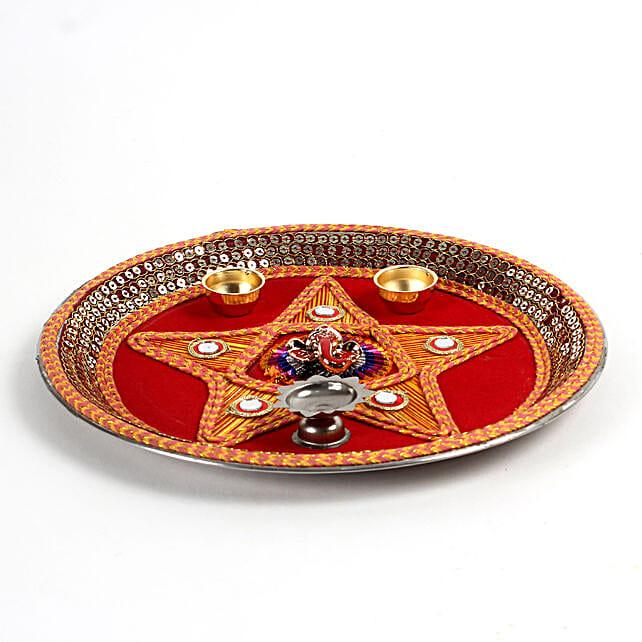 Decorative Steel Pooja Thali: Send Chhath Puja Gifts