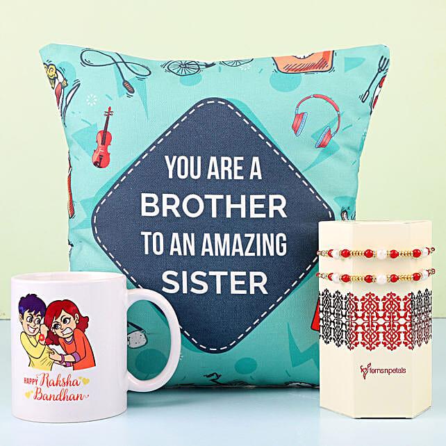 Designer Rakhi With Mug & Cushion For Bro: Rakhi / Raksha Bandhan Gifts