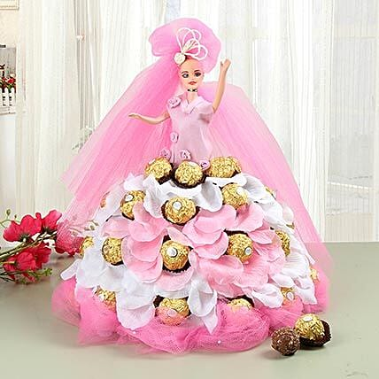 Pink Doll With Ferrero Rocher Chocolates: Toys and Games