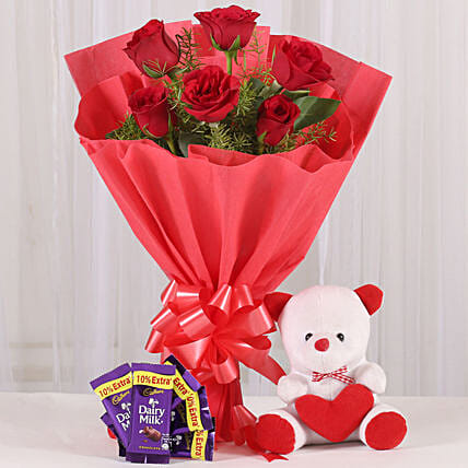 Rosy Love Affair- Teddy Bear & Chocolates: Hug Day Gifts