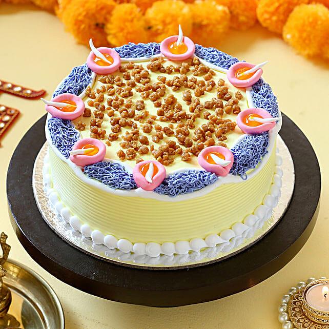 Diya Theme Butterscotch Cake: Send Diwali Cakes