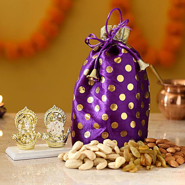 Dry Fruits & Gold Plated Laxmi Ganesha Idol: Laxmi Ganesha Idol Gifts