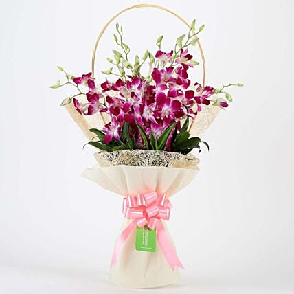 Elegant Purple Orchids Bouquet: Diwali Flowers