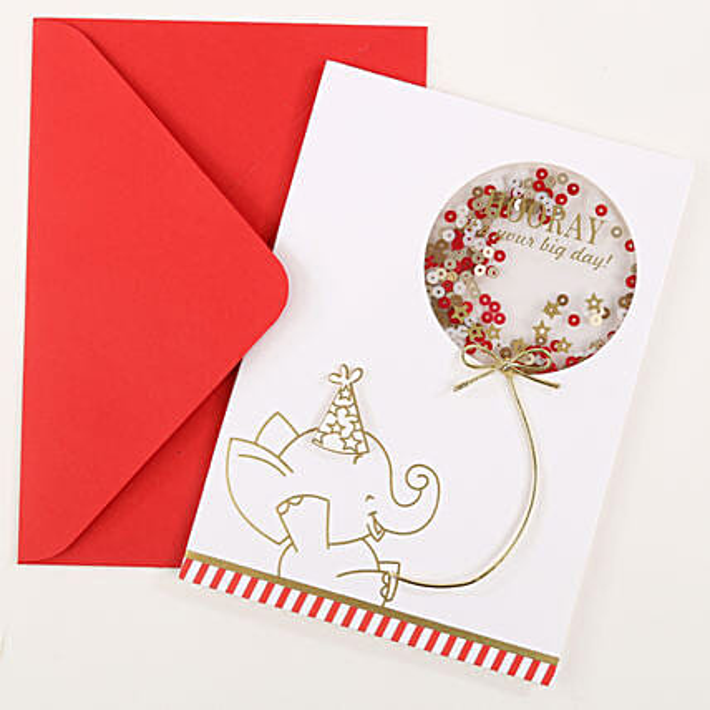 Elephant Shaker Birthday Greeting Card: 1st Birthday Gifts