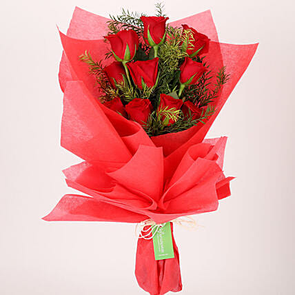 Enchanting 10 Red Roses Bouquet: Red Flowers