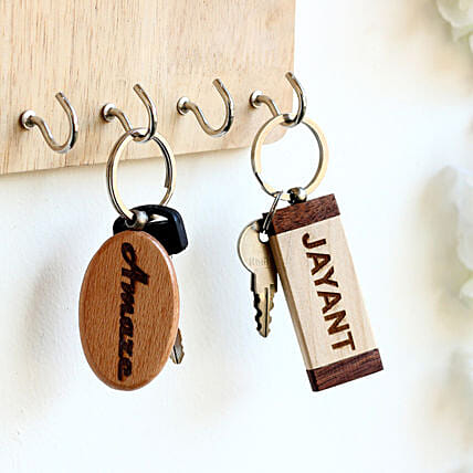 Engraved Personalised Contrast Key Chains Set of 2