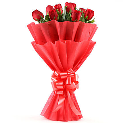 Enigmatic Red Roses Bouquet: Good Luck Gifts