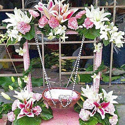 Exotic Flowers Stand Decoration: Send Carnations
