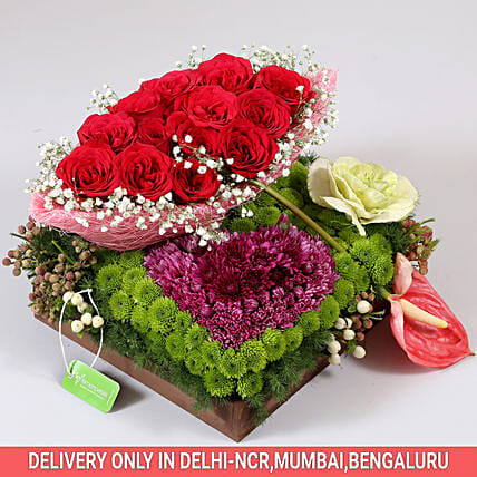 Exotic Flowers Tray Arrangement: Send Anthuriums
