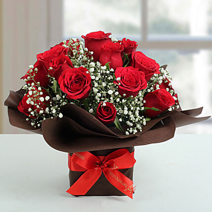 Exotic Red Roses Arrangement: 1St Anniversary Gifts