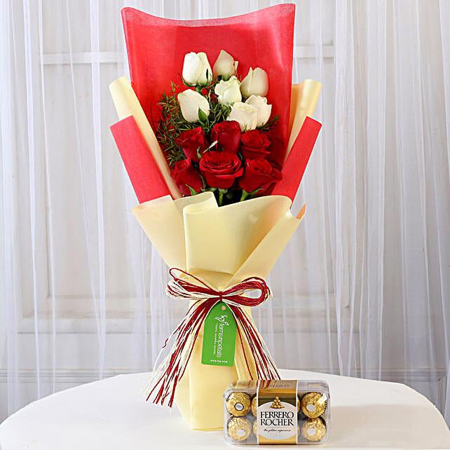 Ferrero Rocher Box with Red & White Roses: Ferrero Rocher Chocolates