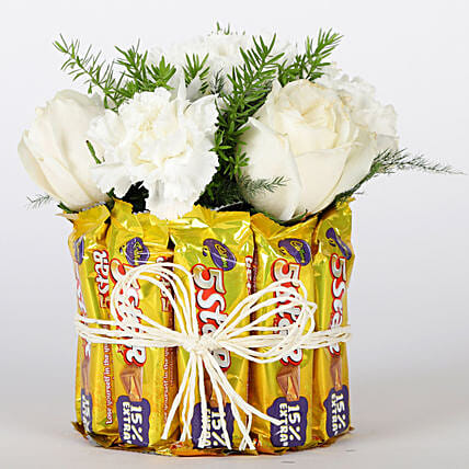 Five Star Floral Glass Vase Arrangement: Cadbury Chocolates