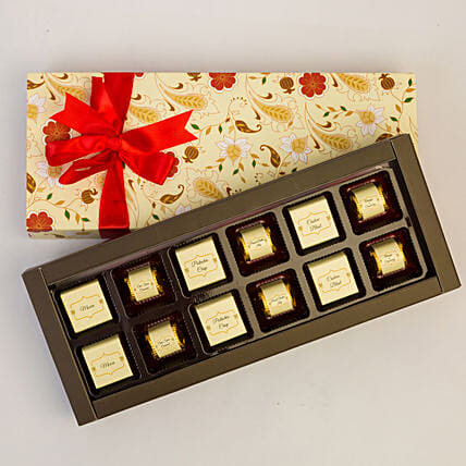 Floral Box Of Chocolates- 12 Pcs: Gifts to India