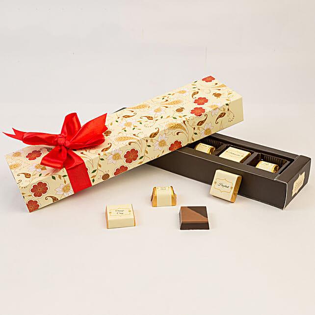 Floral Box Of Chocolates- 6 Pcs: Chocolates Shopping India