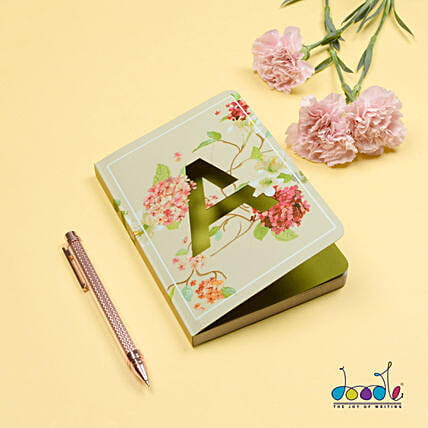 Floral Design Doodle Initial Diary: Personalised Stationary