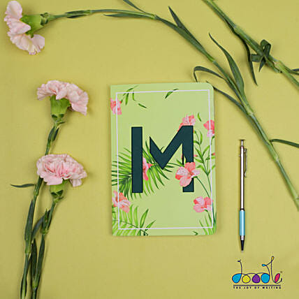 Floral Green Doodle Initial Diary: