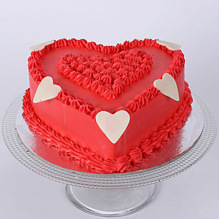 Floral Red Heart Cake: Send Heart Shaped Cakes